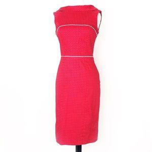 bebe • retro red dot foldover collar pencil dress